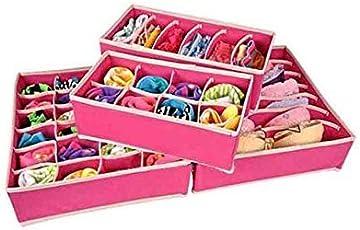 PAffy 4 Piece Fabric Foldable Storage Box for Socks Bra Tie Scarfs, Pink