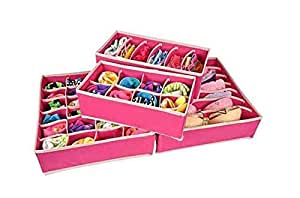 House of Quirk Set of 4 Foldable Storage Box Drawer Divider Organizer Closet Storage for Socks Bra Tie Scarfs - Pink