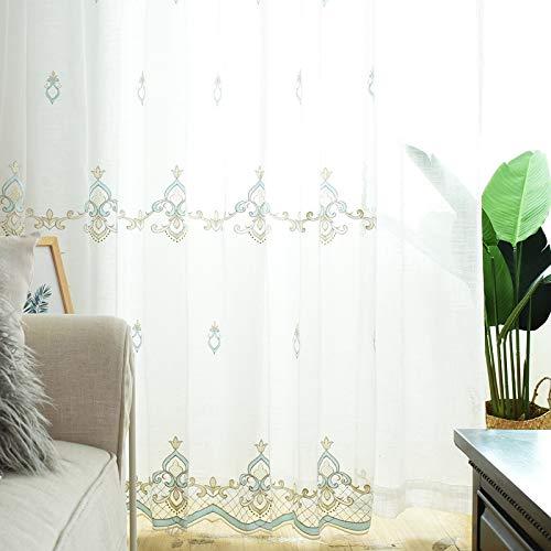 Tende trasparenti bianco moderna finestra semi sheer tenda per tende per la privacy trattamenti protettivi voile curtain 1 pannelli,rings,1pcs(250 * 270cm)