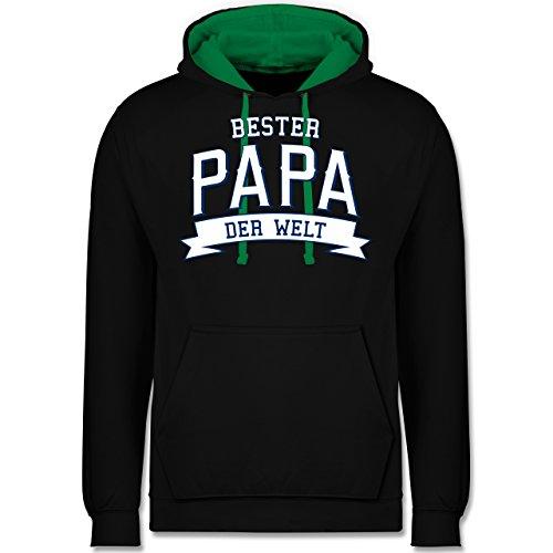 Vatertag - Bester Papa der Welt - Kontrast Hoodie Schwarz/Grün