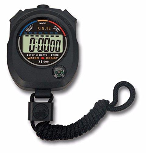 Uhren, Winkey Wasserdicht Digital LCD Stoppuhr Chronograph Timer Zähler Sport Alarm Schwarz