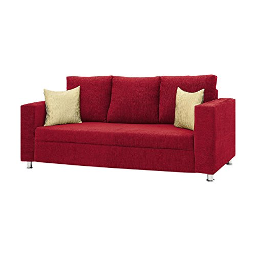 Comfort Couch Classic Valencia Three Seater Sofa (Red)