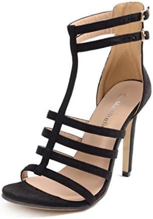 HJHY® Sexy Europa y América Zapatos Romanos con Correa Fina Negra Tipo T Sandalias de Tacón Alto Atractivas Sandalias...