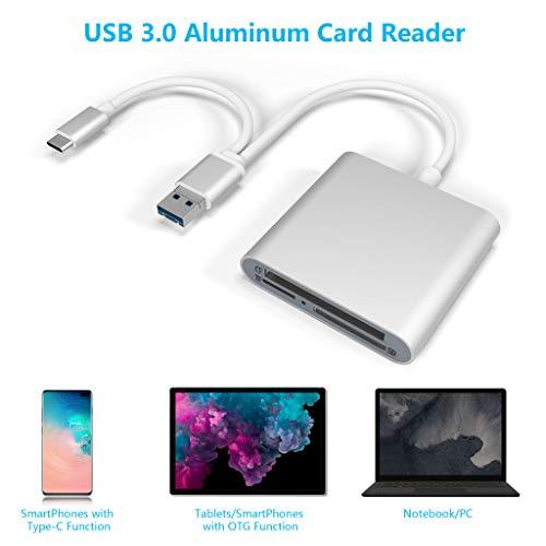 Cateck SD/CF/TF Kartenleser, USB Typ C Micro USB OTG Adapter, Superschneller Aluminium USB 3.0 Speicherkartenleser für SD, SDXC, UHS-I SD, SDHC, Micro SDXC, Micro SDHC, MMC, CF für Android phones, PC