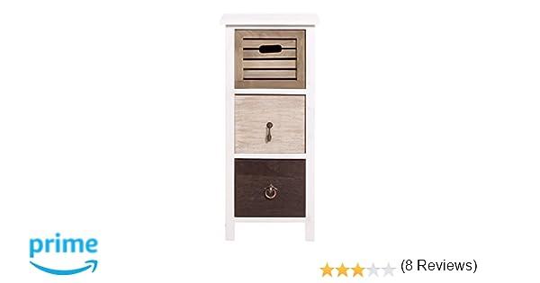 Rebecca mobili comodino cassettiera 3 cassetti legno paulownia