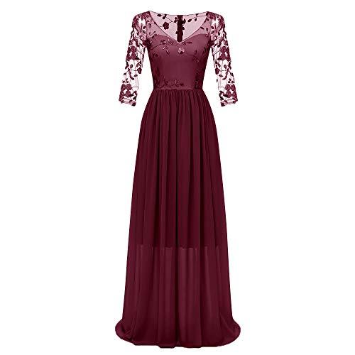 MAYOGO Kleid Damen Elegant Vintage 50er Spitze Kleid mit Tüll Langarm Cocktail Party Rockabill Kleider Abendkleid -