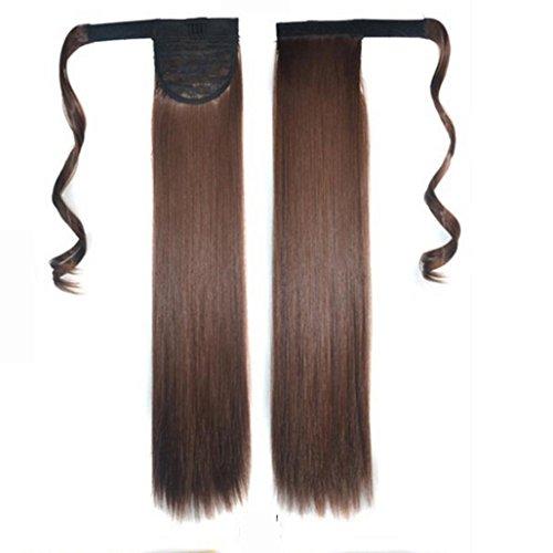 (PINEsong Real Clip In Extensions Haarverlängerung Haarteil hitzebeständig glattbraunmix Hair Extension Straight Pony Tail Wrap Um Pferdeschwanz Human Hair Weaving Extensions (Braun-))