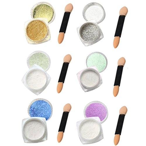 Nail Mirror Powder,Transer ® 6pcs 1g Nail Glitter poudre Shinning ongles miroir maquillage Art bricolage Chrome Pigment de la poudre avec bâton éponge
