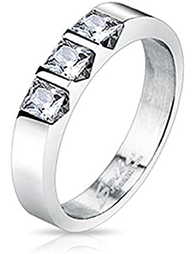 Paula & Fritz® Ring aus Edelstahl Chirurgenstahl 316L 3mm breit mit drei eingelassenen Steinen verfügbare Ringgrößen...