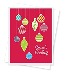 Holiday Ornaments Christmas Cards, Set of 10 Greeting Cards