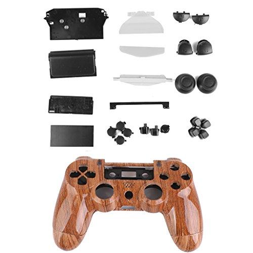 FLAMEER Für PS4 Controller Mod Kit ABS Hülle Abdeckungs Haut Kasten mit Controller Tastensatz - Braun -