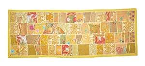 Tableau Patchwork Throw Tentures murales tapisserie avec des robes anciennes Zari, travail de broderie, 152 x 51 cm