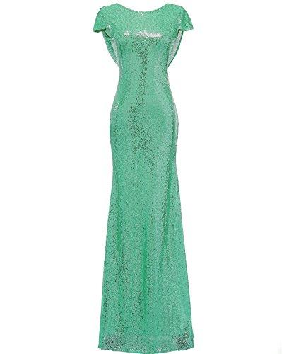 Solovedress femmes sirène pailletée Robe longue de soirée de bal sequin Robes de mariée Turquoise