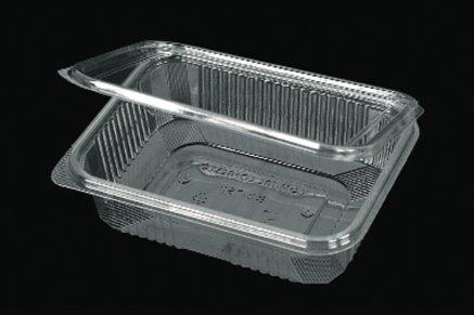 Vaschette rettangolari in pet - mm. 186x142x42 - codice b2 cc. 750 - confezione da 50 contenitori trasparenti richiudibili con coperchio unito - vaschette monouso con chiusura incernierata ed ermetica