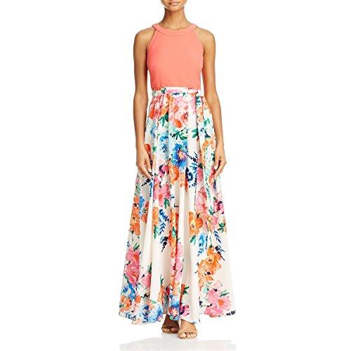 Eliza J Womens Floral Print Halter Maxi Dress