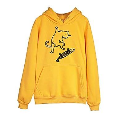 Loveso Damen Hoodie Winter Kapuzenpullover Pullover Mit Kapuze Teenager Pullover Damen Tumblr Katze Drucken Sweatshirt Hoodie Pullover mit Leicht Plüschhemd