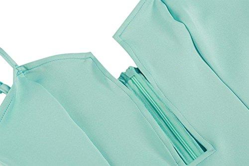 CRAVOG Nouvelle Robe Sexy Courte Ouverte Devant Robe Bustier A-ligne Imprimée Floral Vert