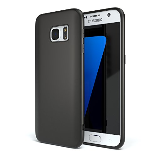 EAZY CASE Handyhülle Silikon mit Kameraschutz Samsung Galaxy S7 in schwarz matt, Ultra dünn, Slimcover, Silikonhülle, Hülle, Softcase, Backcover -