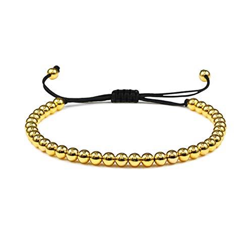 Imagen de pulseras cuentas de 5 mm bolas trenzado macrame charm pulsera con cuentas brazaletes cuerda ajustable joyería hombres mujeres pulseira masculina joyería