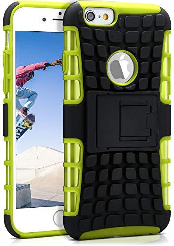 OneFlow® Outdoor Back-Cover aus Silikon + Kunststoff [Double-Layer] passend für iPhone 6S / iPhone 6 | Extrem widerstandsfähiger 360° Schutz, Grün