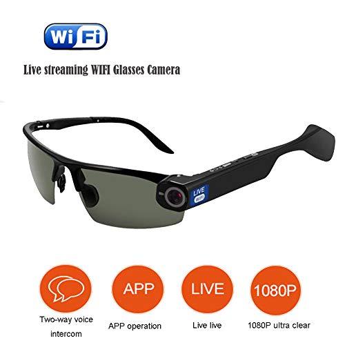 KCaNaMgAl Intercom-Brille WiFi-Videobrille, Live-Video-Smart-Brille 1080P Live-Live-Kamera,Black