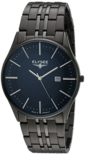 ELYSEE Men's Diomedes II 42mm Black IP Steel Bracelet & Case Sapphire Crystal Quartz Analog Watch 83017