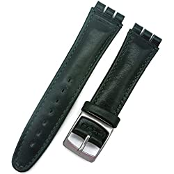 Time Replacement Band Leather Strap 19 mm for Swatch Watch Dark Green