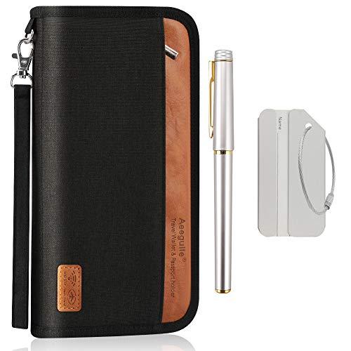 Reisepass-Portemonnaie - Aeegulle Document Organizer-Reißverschlusstasche mit RFID-Blockierung für Damen, Herren, Familien, abnehmbare Halteschlaufe, mit Business-Stift Und Bordkarte (Schwarz) -