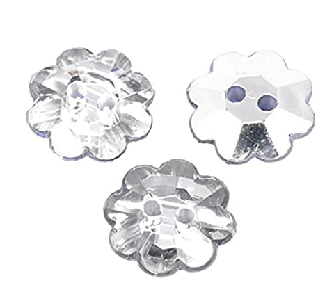 50 x Flower Shape 18mm Plastic Crystal Diamond Effect Sewing Buttons for Clothes Bling Crafts, Card Making Art