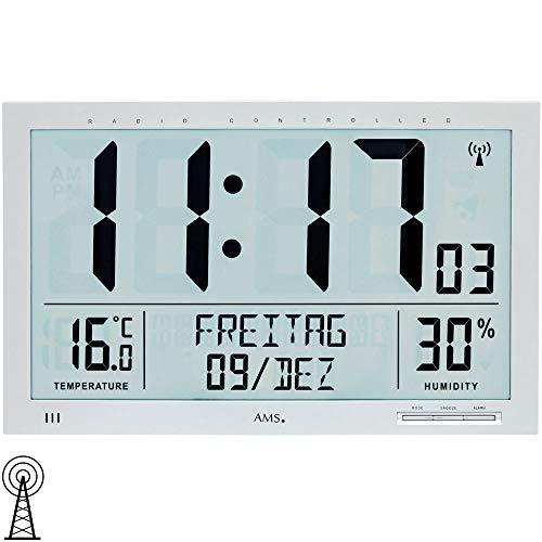 AMS 5888 Wanduhr Tischuhr Funk Funkwanduhr Digital Datum Thermometer Wecker Armee-digital-parka