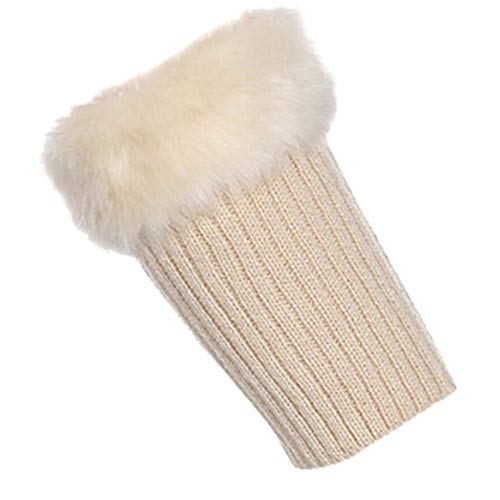 ZZBO Damen Trim Beinlinge Manschette Knit Stiefel Topper Winter Warme Stiefel Stulpen mit Flip Cuff Fluff Einfarbig Stulpen Boot Manschetten Komfortabel und Atmungsaktiv Beinwärmer