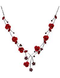 Glamorousky Elegante Rosafarbene Halskette Mit Rotem Austrian- Elements -Kristallen Und Kristallglas (500)