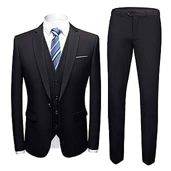7ef4f500b Costume Homme 3 Pcs Veste Gilet et Pantalon Mariage Party Smoking