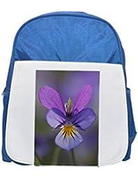 Fotomax Close-up of a Heartsease (Viola Tricolor) Mochila Azul para niños,