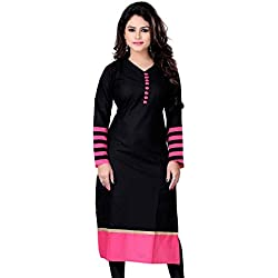 Vatsla Enterprise Women's Cotton Kurti (VDR-51002_Black_Black_Free Size)