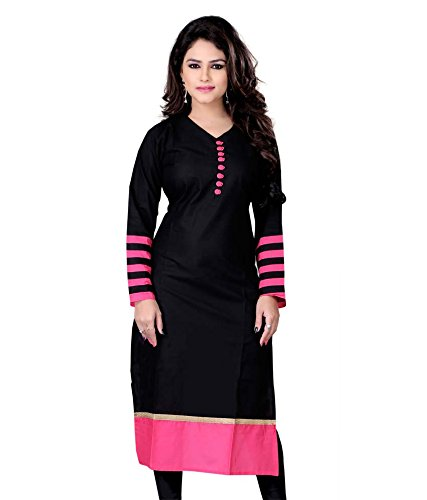 Vatsla Enterprise Women\'s Cotton Kurti (VDR-51002_Black_Black_Free Size)