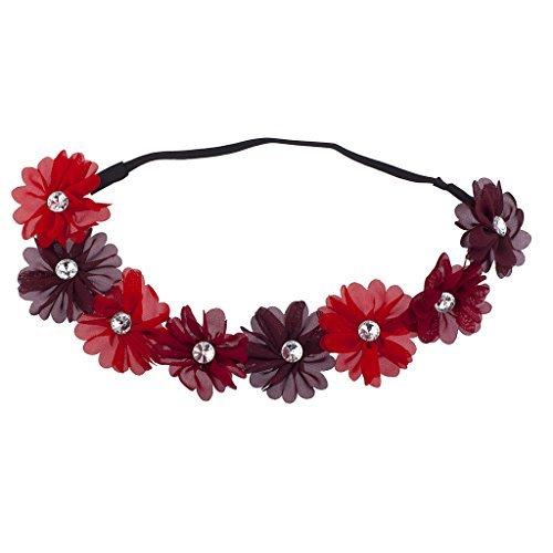 LUX Zubehör Burgund Violett Kristall Stein Floral Elastic Headwrap Stirnband