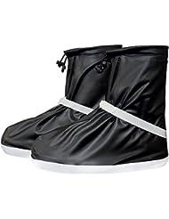 cczz reutilizable Lluvia Zapatos resistente al agua guantes unisex überschuh polaina de Bike Bicicleta Überschuhe combinado zapato antideslizante (Lluvia, negro, medium