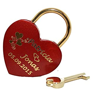 New Love Padlock Heart in Red gold Personalised Engraved Large 60 x 45 MM Padlock