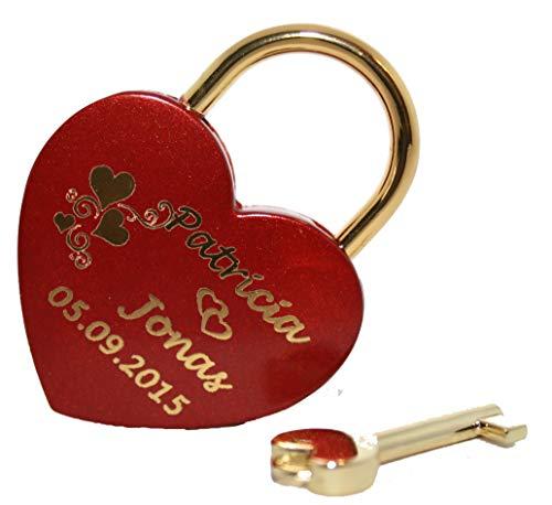 NEU Liebesschloss Herz in Rot -gold mit individueller Gravur Groß 60x45 mm Vorhängeschloss (Hochzeit Eine Im Dezember)