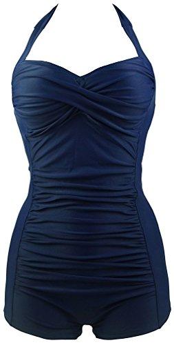 TDOLAH Damen Sexy Uni Badeanzug Bandeau Figurformender Größe M-3XL boyshorts marineblau