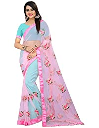 High Glitz Fashion Women's Pink Color Embroidery Work Moti Lace Border Mono Net Sari With Blouse Piece