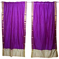 Mogul Interior 2 Indian Sari Curtain Drape Purple Window Treatment Home Decor 84x44