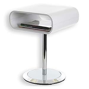 Sellette guéridon table d'appoint VICTORIA métal chromé et bois blanc
