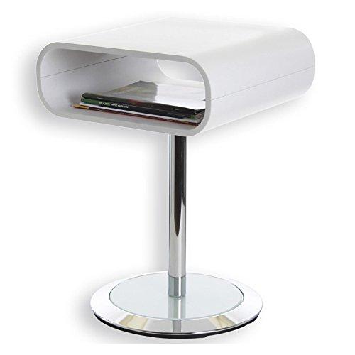 IDIMEX Beistelltisch Couchtisch VICTORIA, in weiß und chrom mit Glasplatte im Fuß