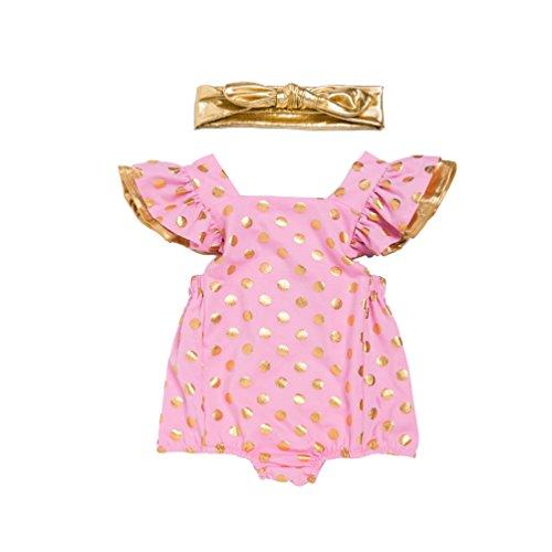 Anguang Baby-Mädchen Neugeborenes Kostüm Set 2Pcs Kleinkind Ärmellos Tupfen Halloween Bodysuit Romper Mit Stirnband (Pink, Größe 66)