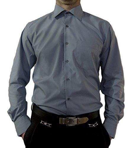 Designer Herren Hemd Grau Bügelfrei klassischer Kragen Herrenhemd Kentkragen Langarm Größe XL 44