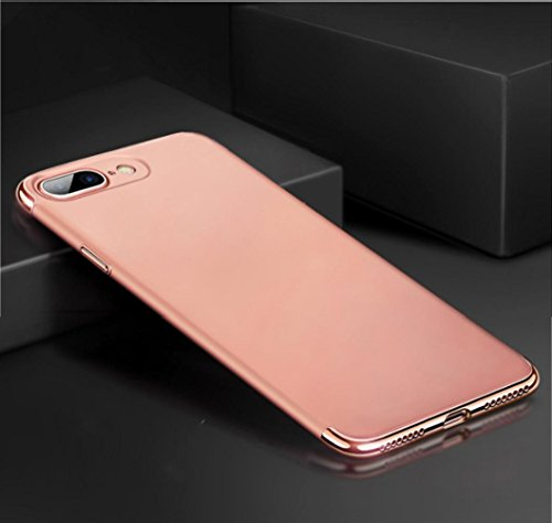 Ouneed® Für iPhone 8 plus 5.5 Zoll Hülle , 3 in 1 Ultra-thin 360 Full Body Anti-Scratch Shockproof Hard PC Non-Slip Skin Smooth Back Cover Case with Electroplate Bumper für iPhone 8 plus 5.5 Zoll (Rot Roségold