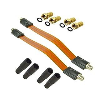 PremiumX 2X Sat Fensterdurchführung + 4X F-Stecker + 4X Gummitüllen Flachkabel Set für Fenster und Türen Ultra Extra flach Durchführung Kabel