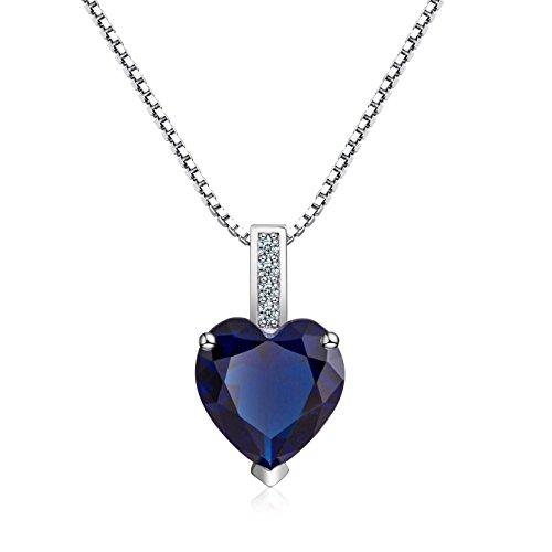 Oneck collana in argento 925 per donna con ciondolo cuore cristallo swarovski blu